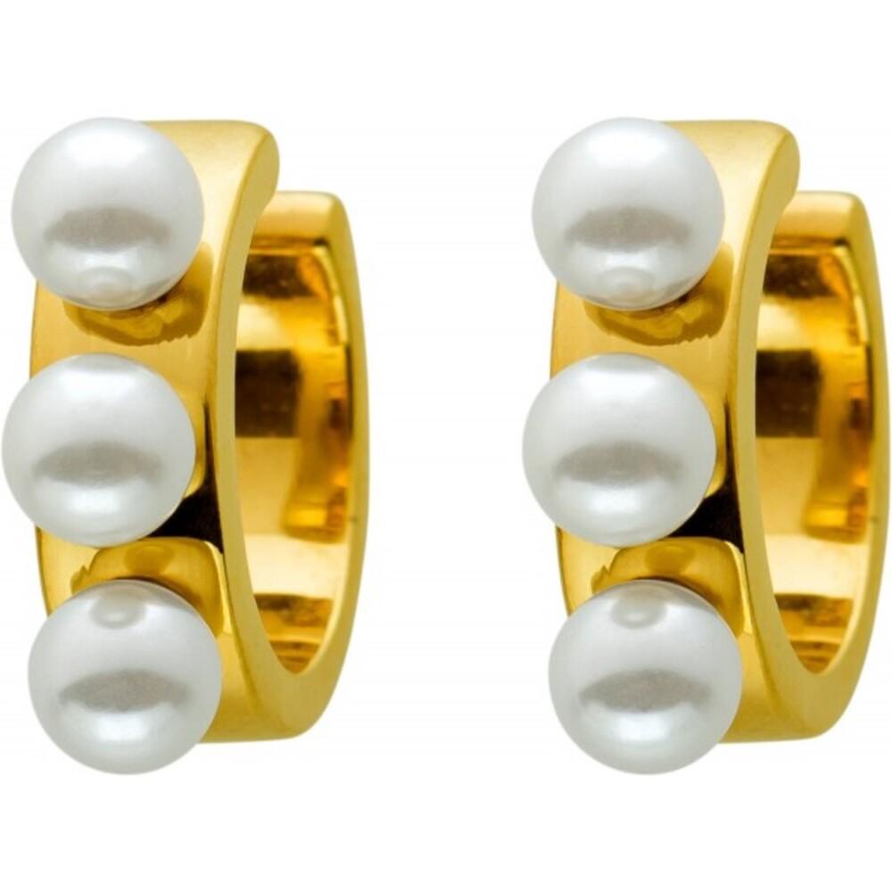 Ear Cuffs Ohrrand CreolenOhrklemmen Edelstahl vergoldet, T-Y, mit 6 synth. weissen Perlen 4,3mm, 14,5x4,5mm