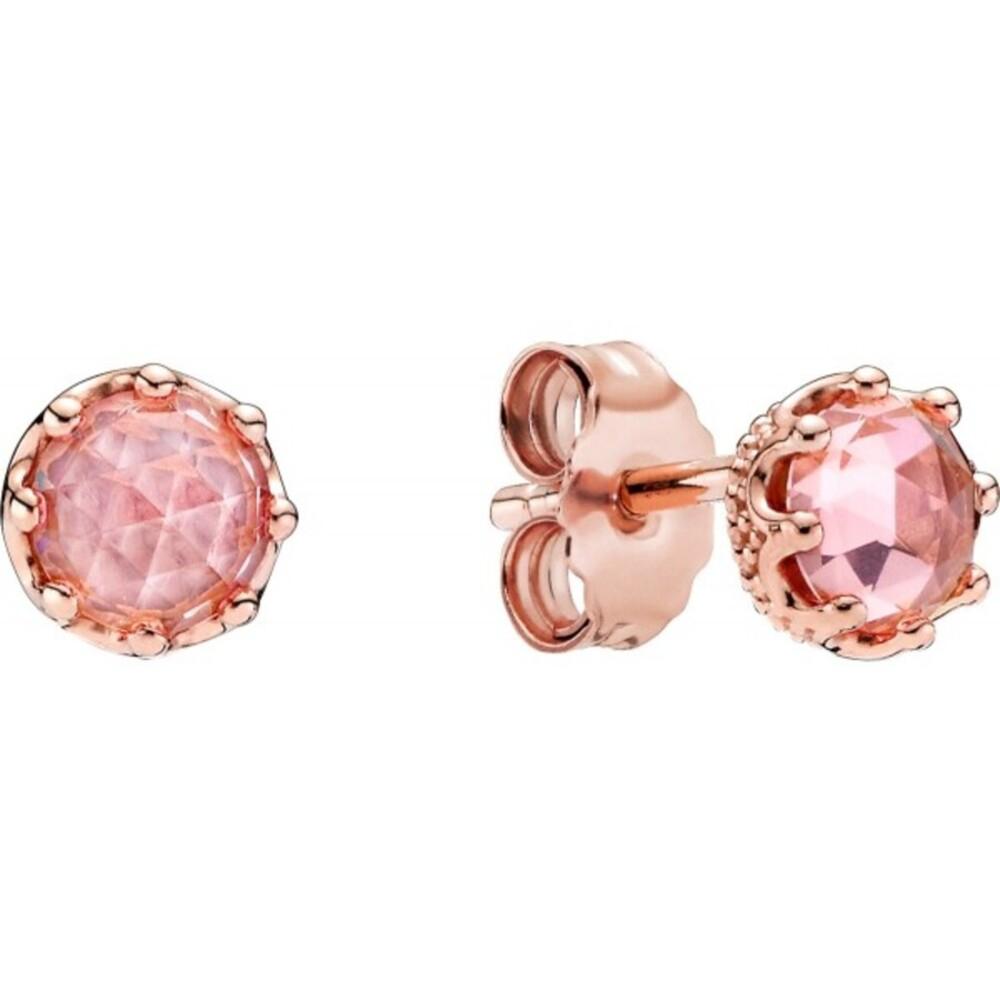 Pandora Signature Ohrstecker 288311C01 Sparkling Crown Rose Pinke Kristalle