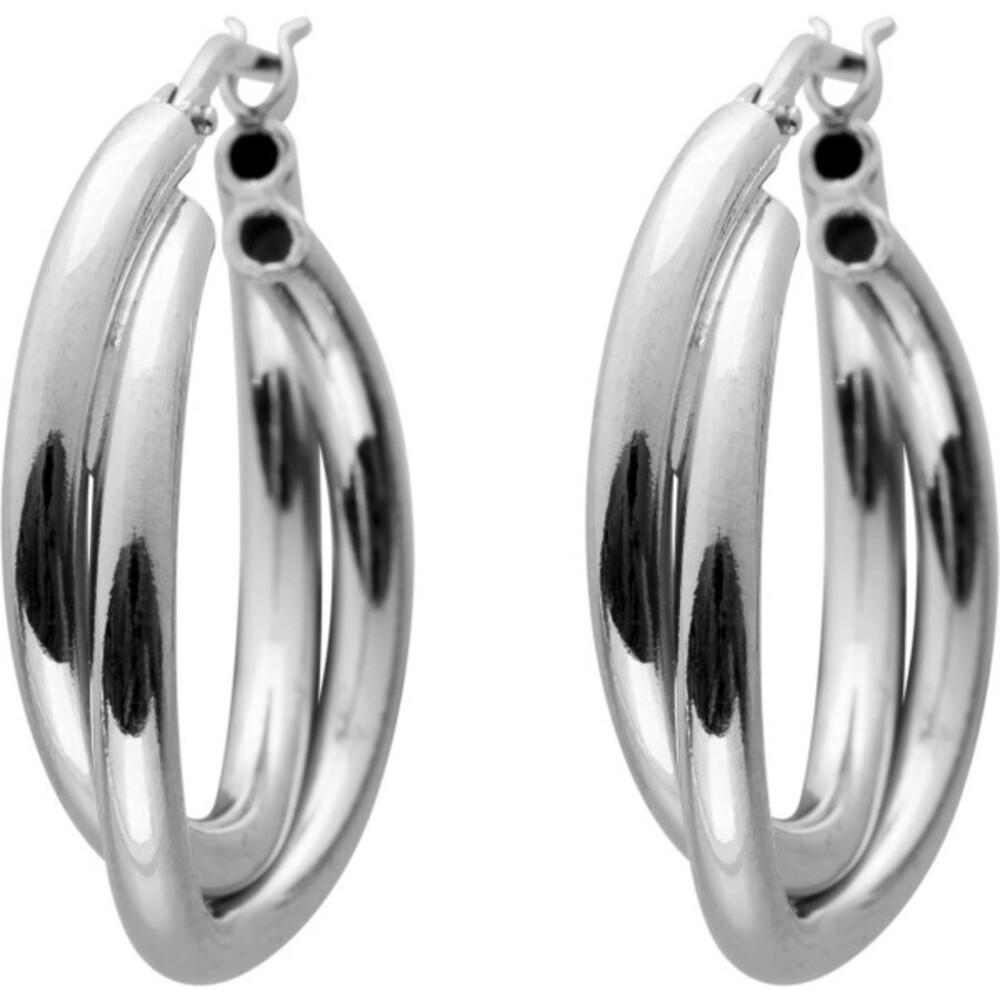 Verspielte Creolen poliertem Silber 925 Ohrringe Damenschmuck 1