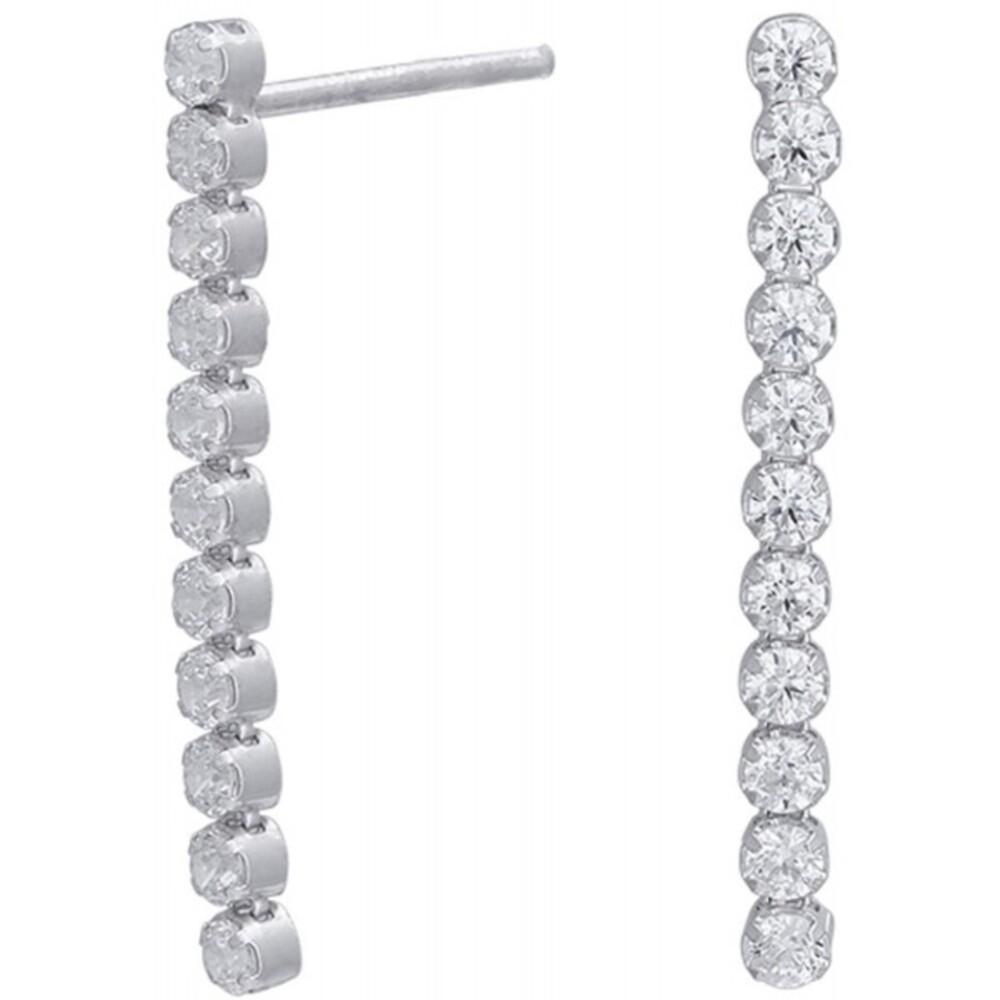 Nordahl Joanli Nor Ohrring 352 000 ElnaNor Rhodiniertes Sterling Silber 925 Klare Zirkonia 26mm