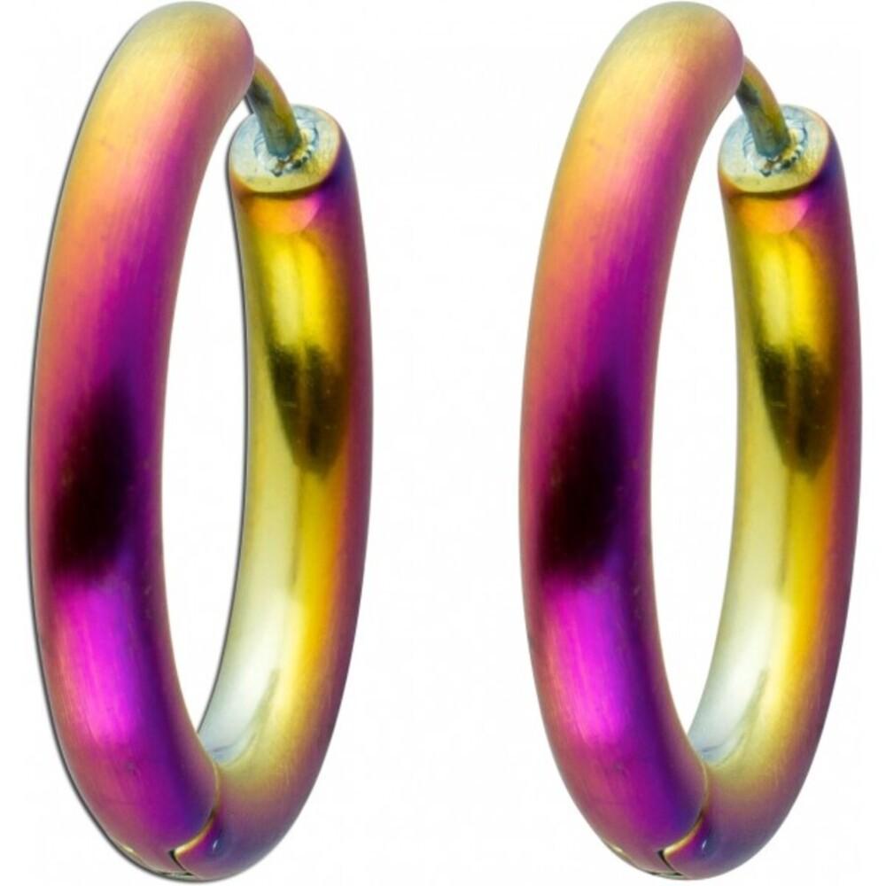 1Klappcreolen Edelstahl T-Y Toyo Yamamoto Oberfläche Regenbogenfarbenim Titan Look, 23x3,5mm