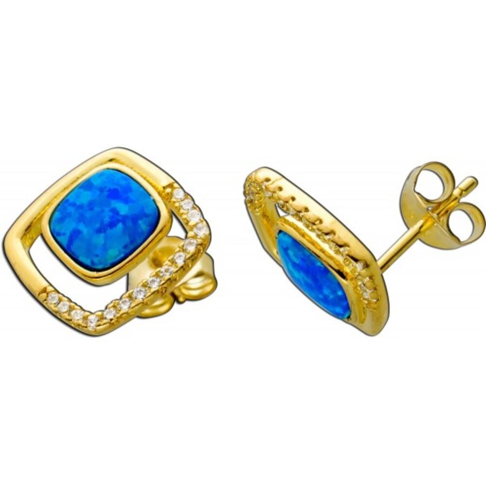 Ohrstecker Silber 925/- vergoldet, 2 synth. blaue Opale, cirka 30 Zirkonia