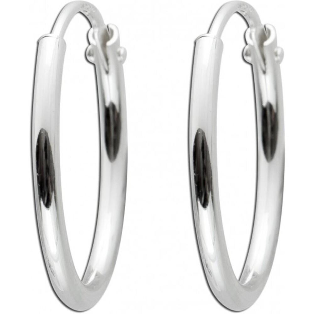 Creolen klappbare Bügel Sterling Silber 925 Durchmesser 15 mm Breite 1,2 mm