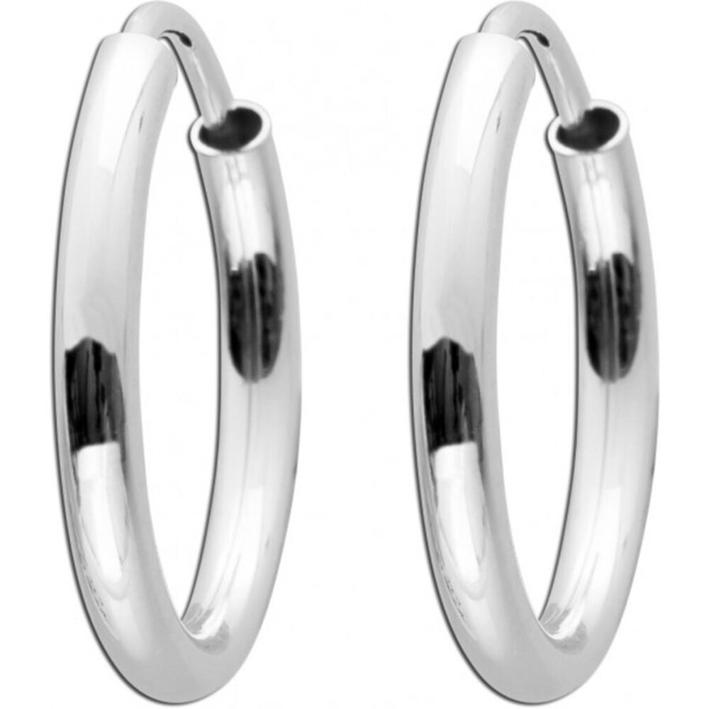 Creolen Sterling Silber 925 flexibler Verschluss Durchmesser 15 mm Breite 2 mm