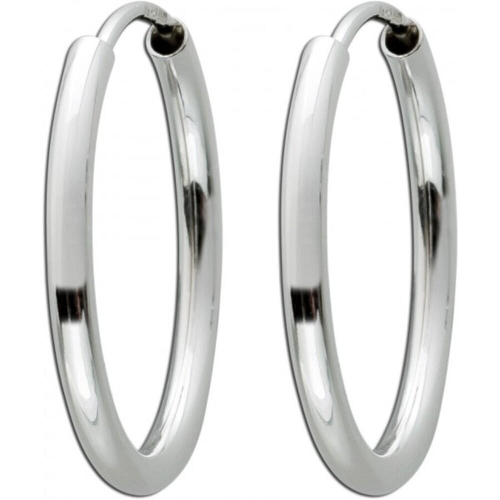 Silber Creolen 925 halbmassiv Durchmesser 20 mm poliert