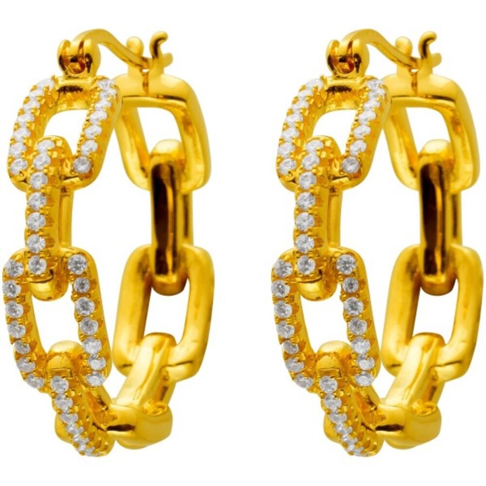 Designer Creolen mit Scharnier Silber 925 vergoldet mit 80 Zirkonia 27x6mm