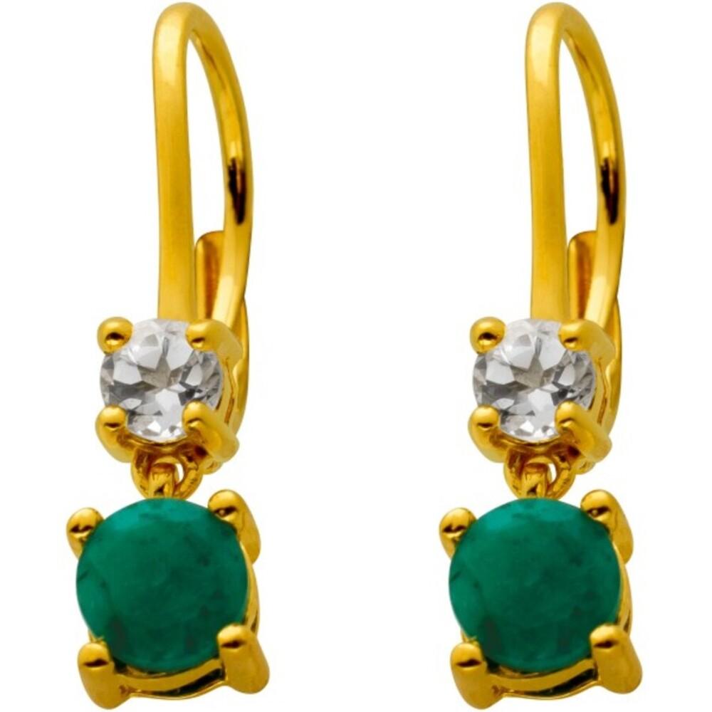 Ohrringe mit Brisur Silber 925 vergoldet mit 2 Smaragden und 2 Topas Edelsteinen 23x5mm
