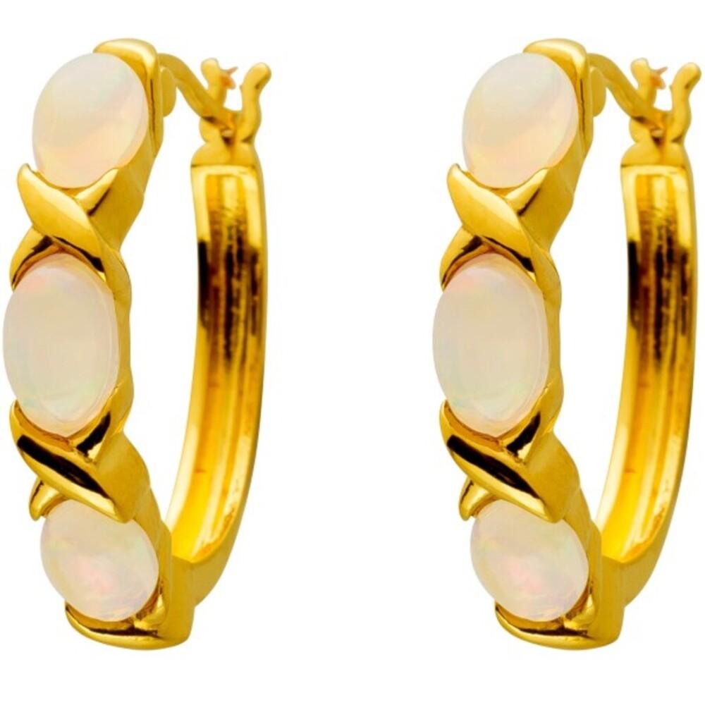 Creolen mit Scharnier Silber 925 vergoldet mit 6 äthiopischen Opal Edelsteinen
