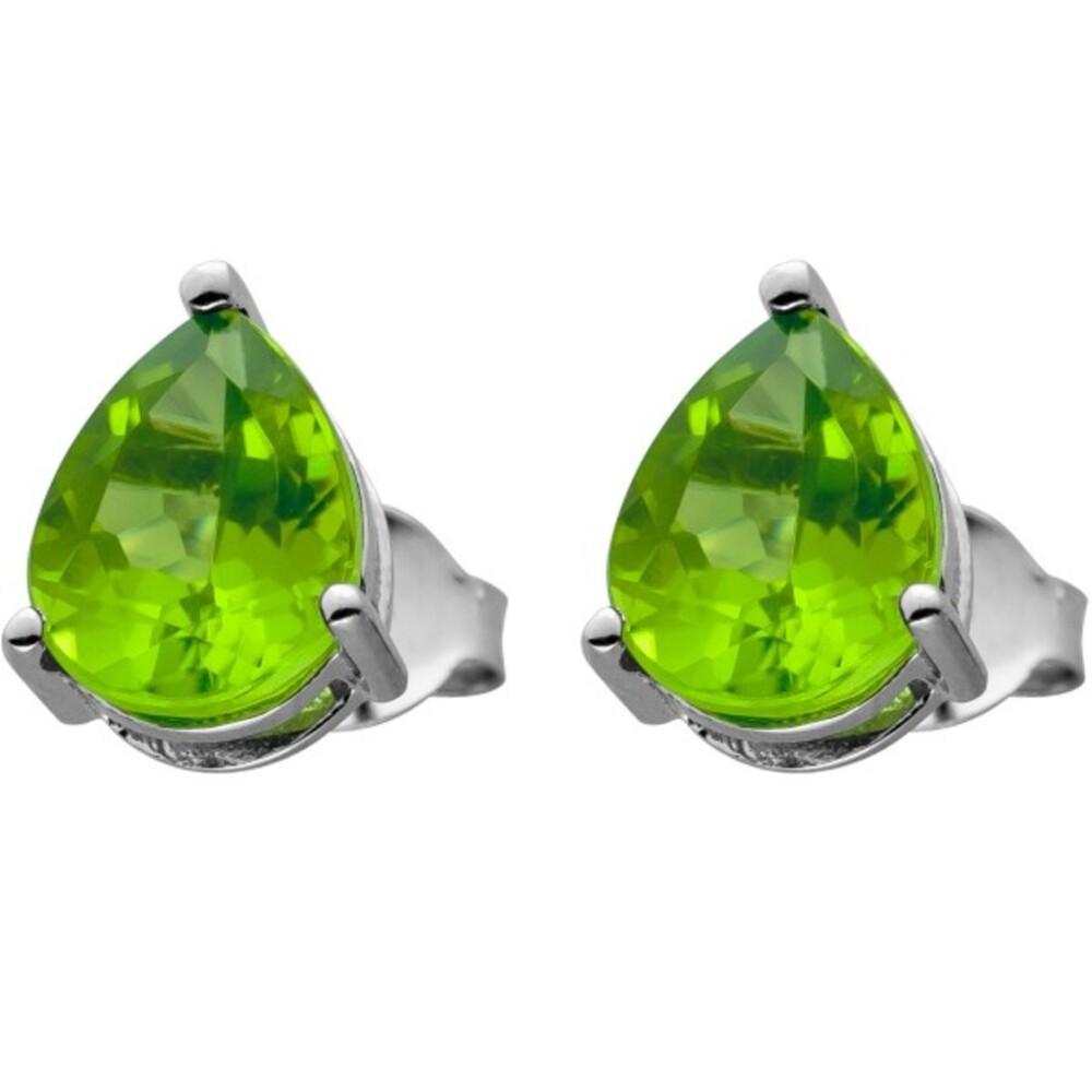 Ohrstecker Silber 925 mit 2 grünen Peridot Edelsteinen 10x8mm