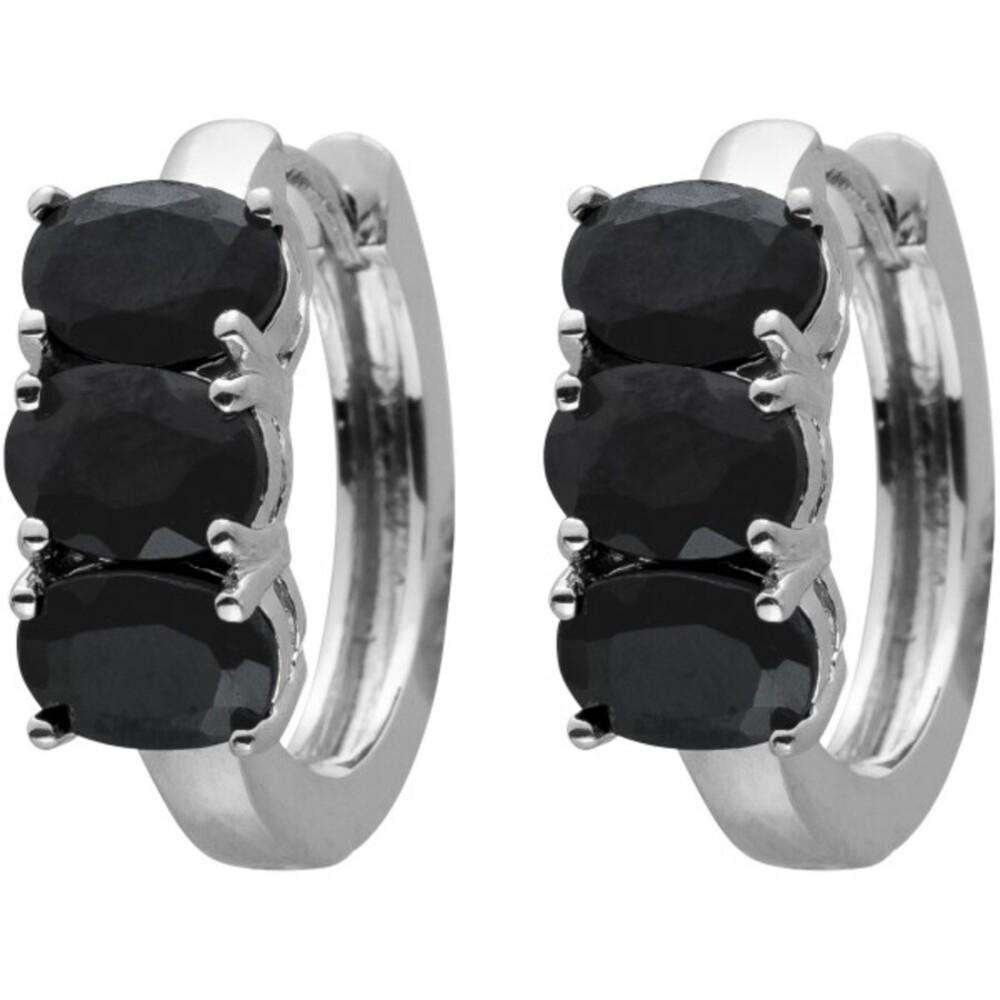 Klapp Creolen Silber 925 mit 6 ovalen Spinell Edelsteinen 20x7mm