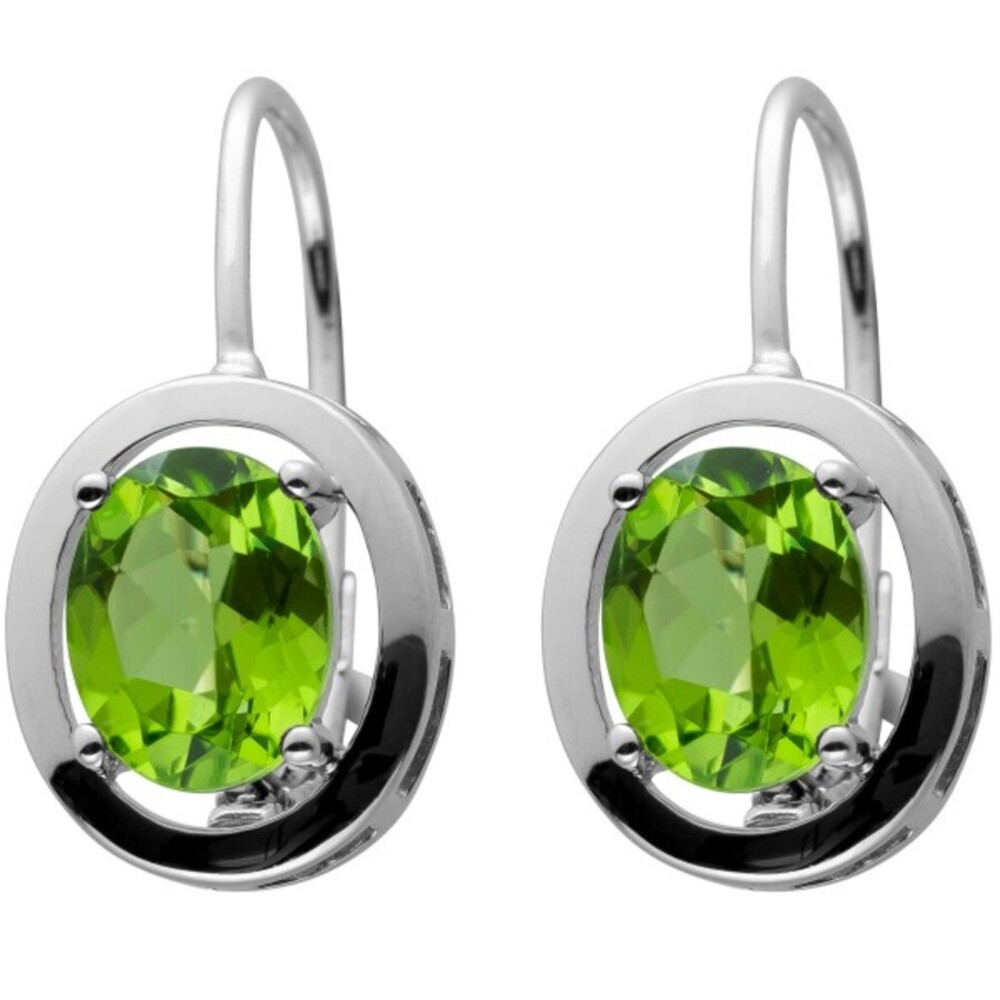 Scharnier Klapp Creolen Silber 925 mit 2 Grünen Peridot Edelsteinen