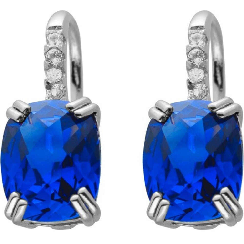 Scharnier Klapp Creolen Silber 925 mit weißen und blauen Saphiren