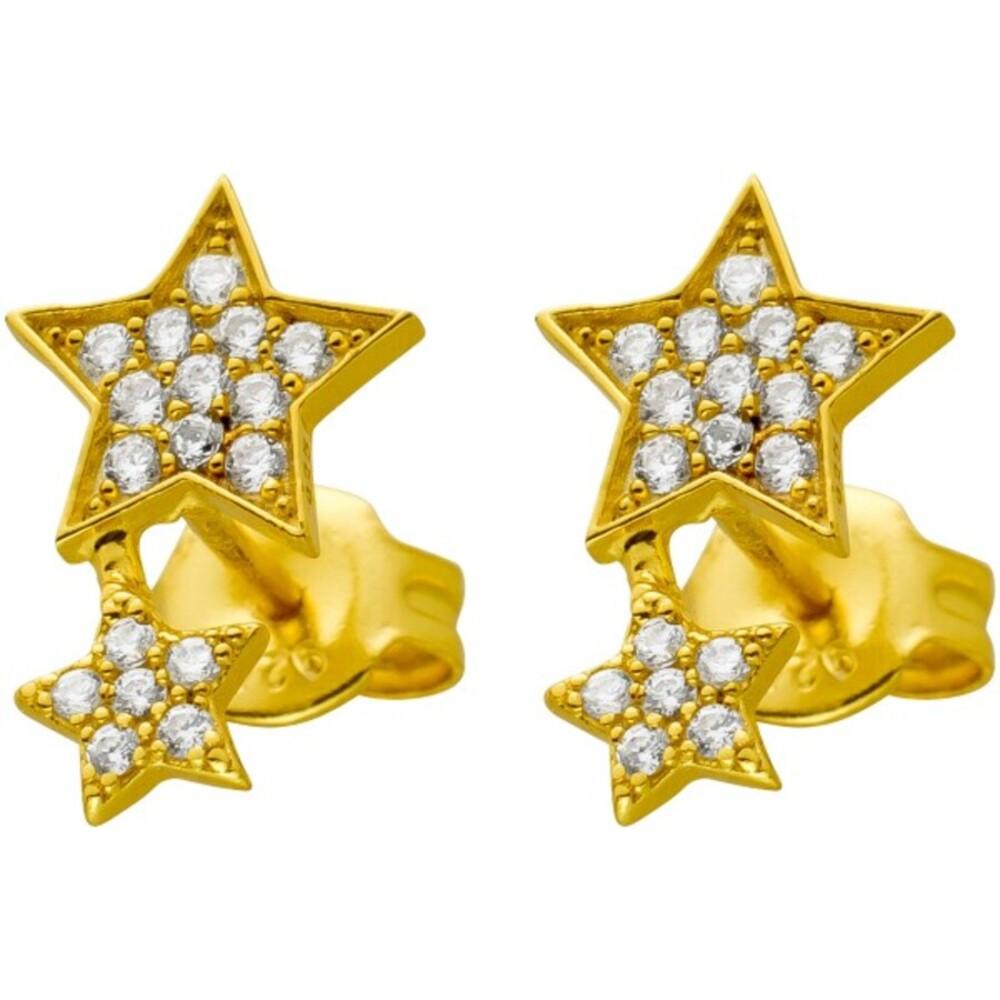 Stern Ohrstecker Silber 925 vergoldet mit 34 funkelnden Zirkonia