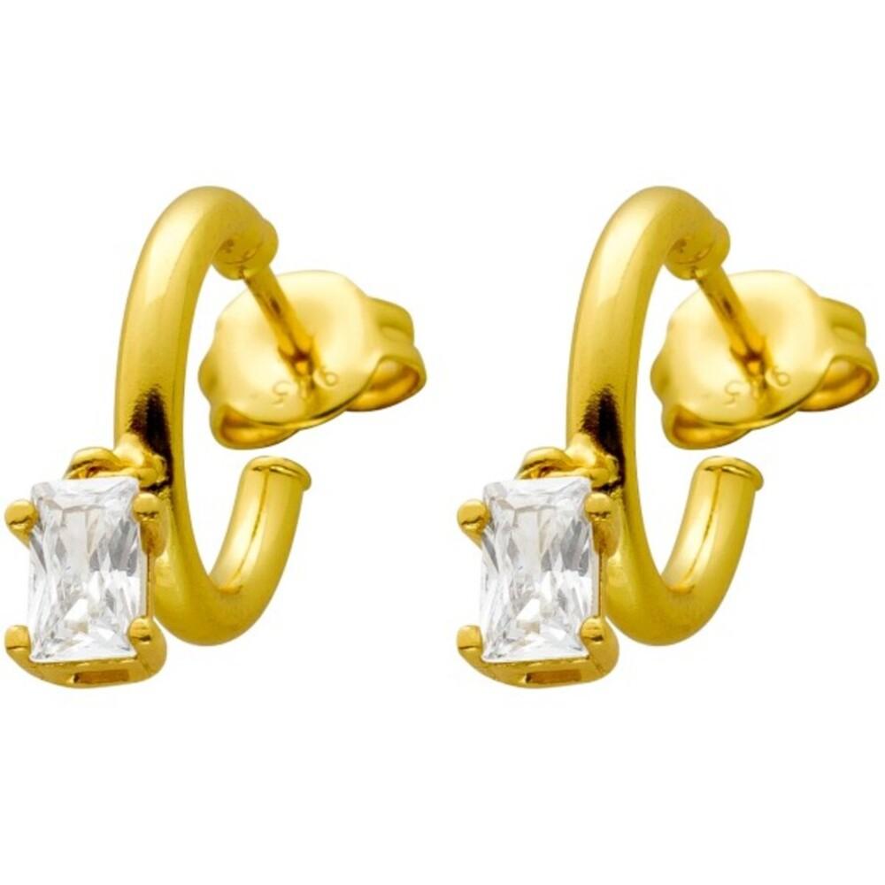Ohrstecker Silber 925 vergoldet in Creolen Form mit je einem beweglichen Zirkonia