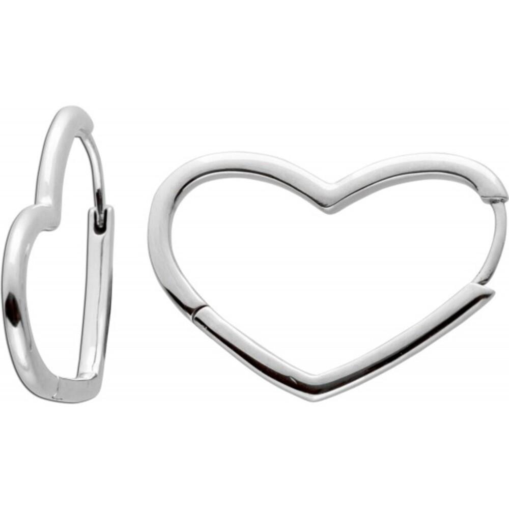 Asymmetrische Herz Klapp Scharniercreolen Ohrringe Edelstahl poliert 297822  Vivien Lee