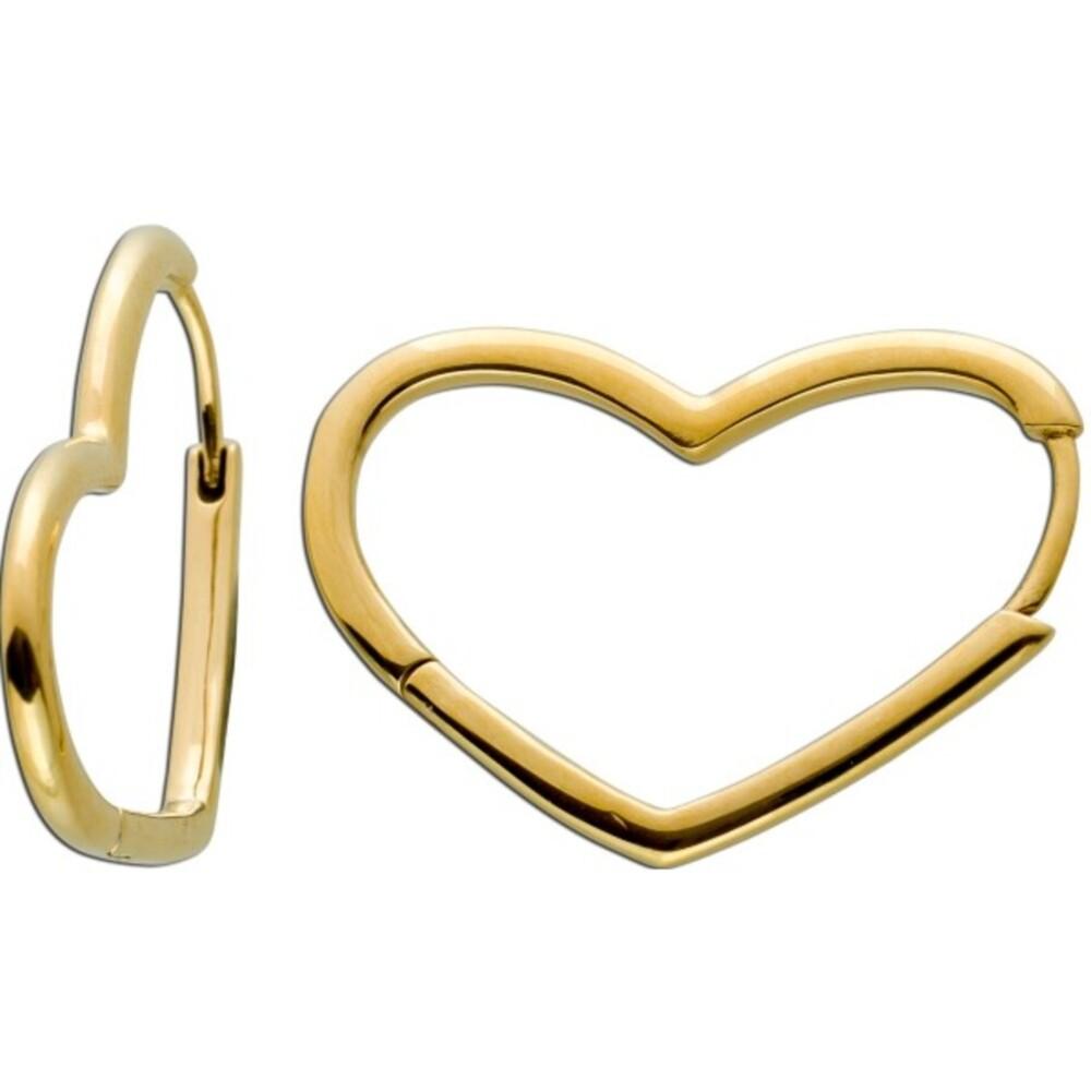 Asymmetrische Herz Klapp Scharniercreolen Ohrringe Edelstahl IP gelb vergoldet poliert Vivien Lee