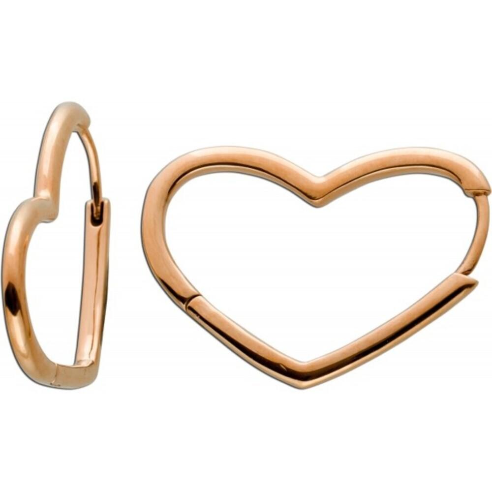 Asymmetrische Herz Klapp Scharniercreolen Ohrringe Edelstahl IP rose vergoldet poliert Vivien Leevv