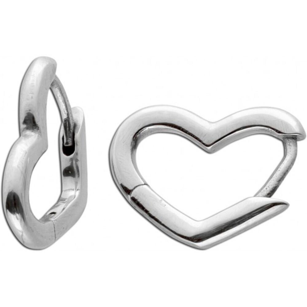 Asymmetrische Herz Klapp Scharniercreolen klein Ohrringe Edelstahl poliert Vivien Lee 298307C00
