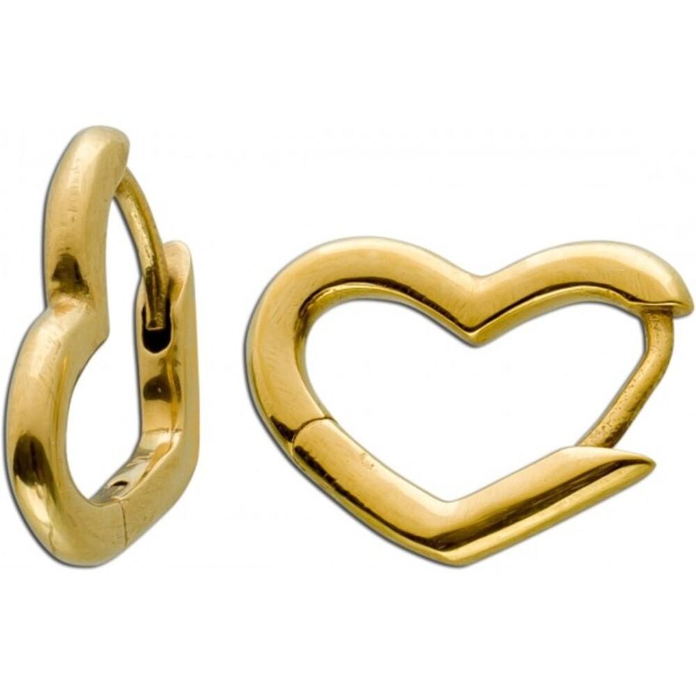 Asymmetrische Herz Klapp Scharniercreolen klein Ohrringe Edelstahl poliert IP gelb vergoldet Vivien Lee