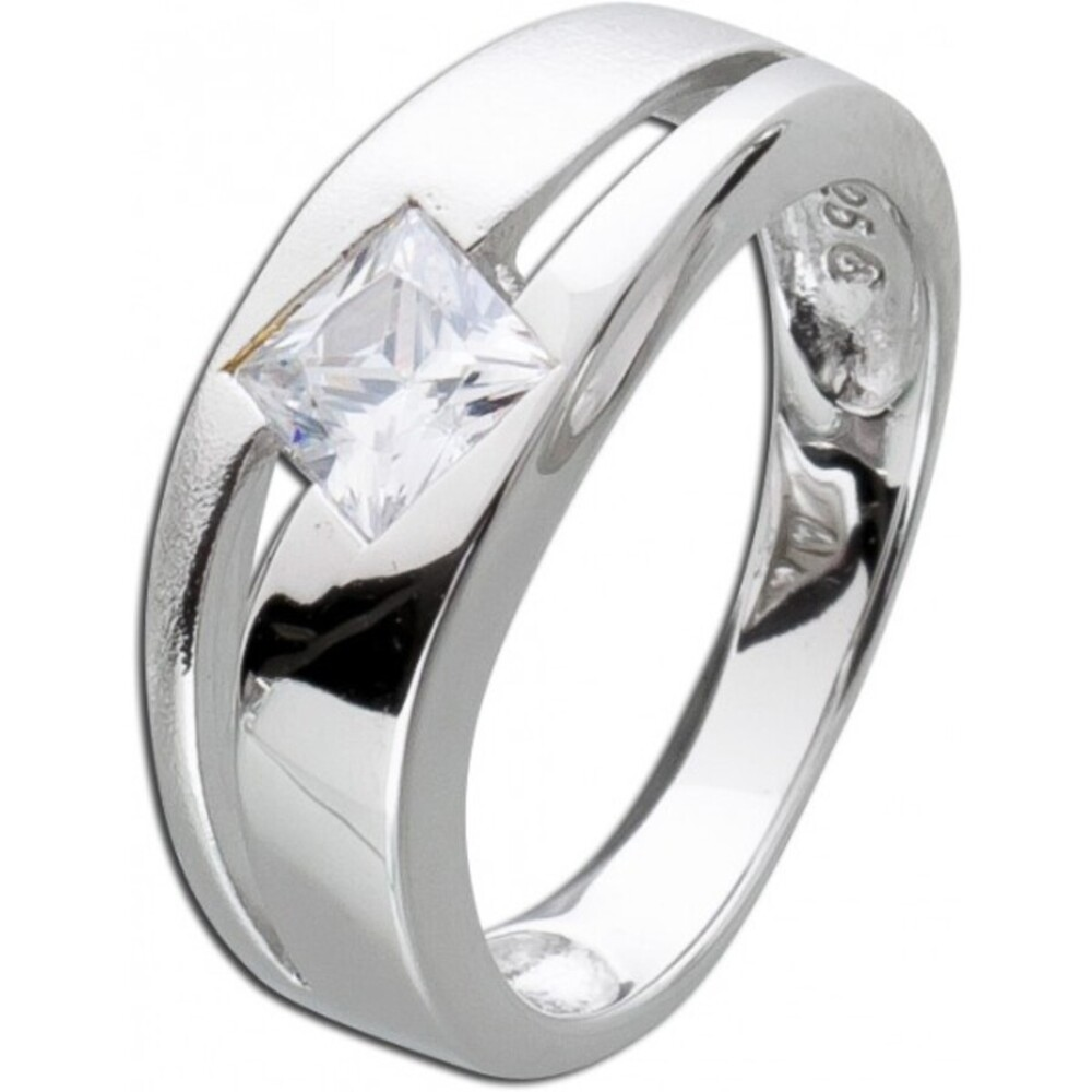 Designer Ring  Zirkoniaring Silberring weisse Zirkonia Sterling Silber 925 poliert mattiert rhodiniert_01
