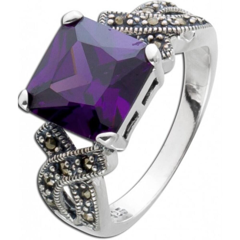 Lila Amethystring Silber 925 violetter Amethystring Artdecco Markasitsteine 3