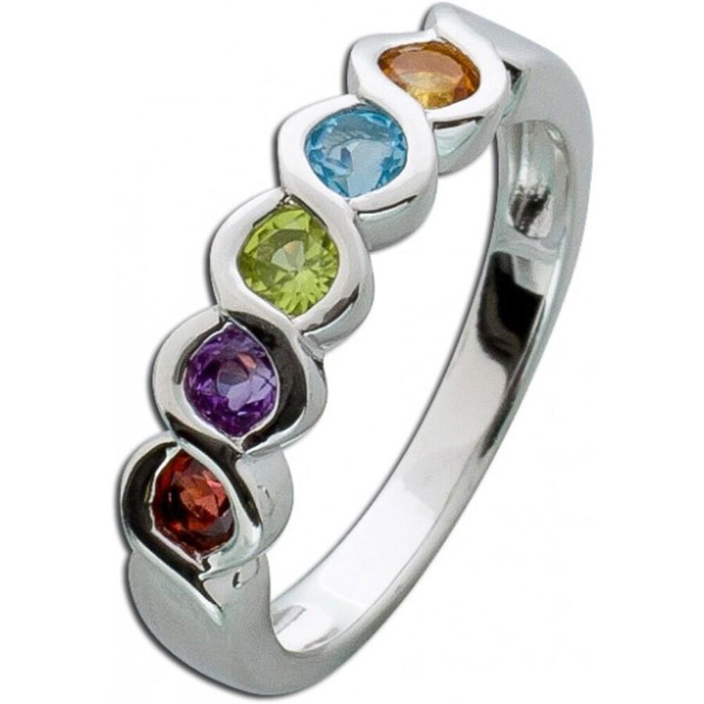 Memoire Ring Edelsteinring bunt Silber 925 gelber Citrin Blautopas grüner Peridot lila  Amethyst roter Granat _01