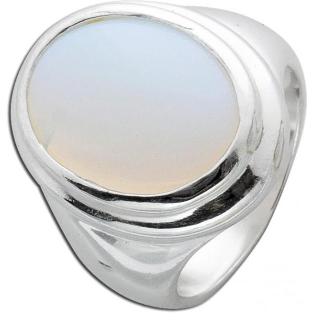 Weiß rosefarbener Mondstein Ring Sterling Silber 925 synthetisch 1