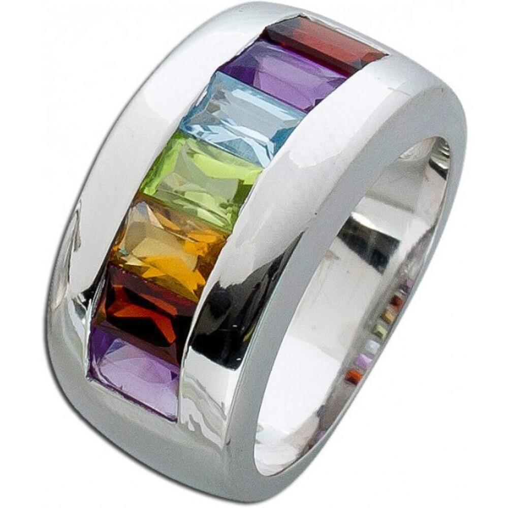 Bunter Edelsteinring Memoire Ring Silber 925 violetter Amethyst roter Granat gelber Citrin grüner Peridot Blautopas _01