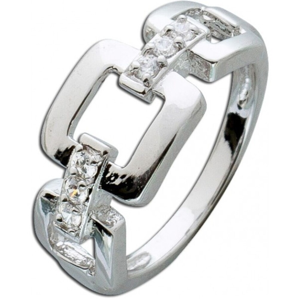 Kettenring weißen Zirkonia Silber 925 Damenring 1