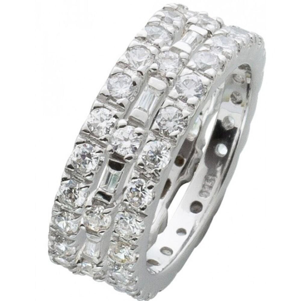 Silberring Set 3-teilig weißen Zirkonia Silber 925 1