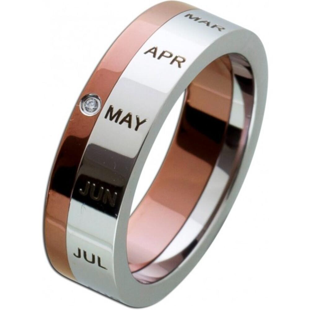 Kalenderring Jahresring Monatsring Ring Edelstahlring Zirkonia weiss rose T-Y Toyo Yamamoto-3