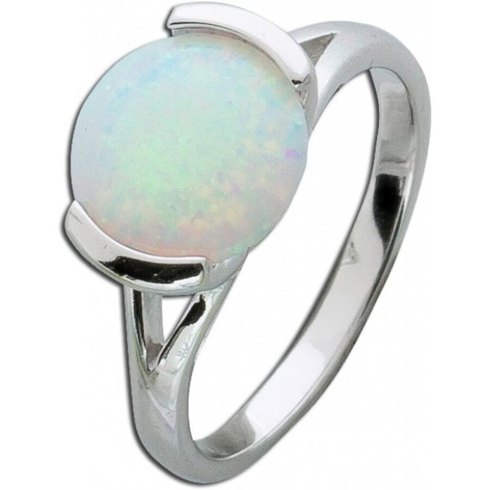 Opalring  Silber 925 solitär Opal Schmuckring weiss blau 3