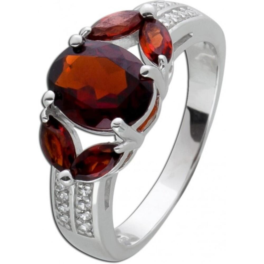 Granat Edelsteinring Silberring 925/- roter Granat weisse Zirkonia_02