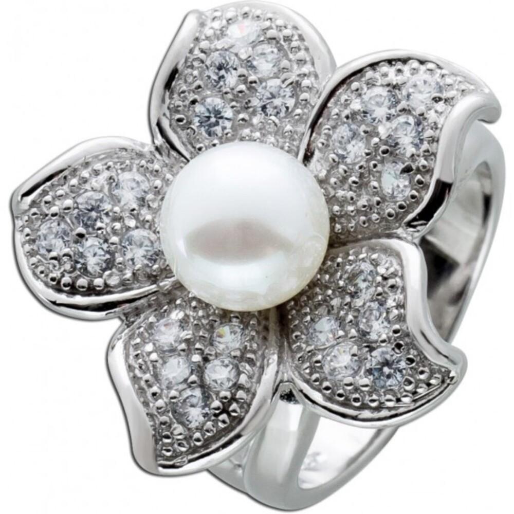Blumenförmiger Perlenring weißer Süßwasserzuchtperle Diamanten Silber 925 Zirkonia 1