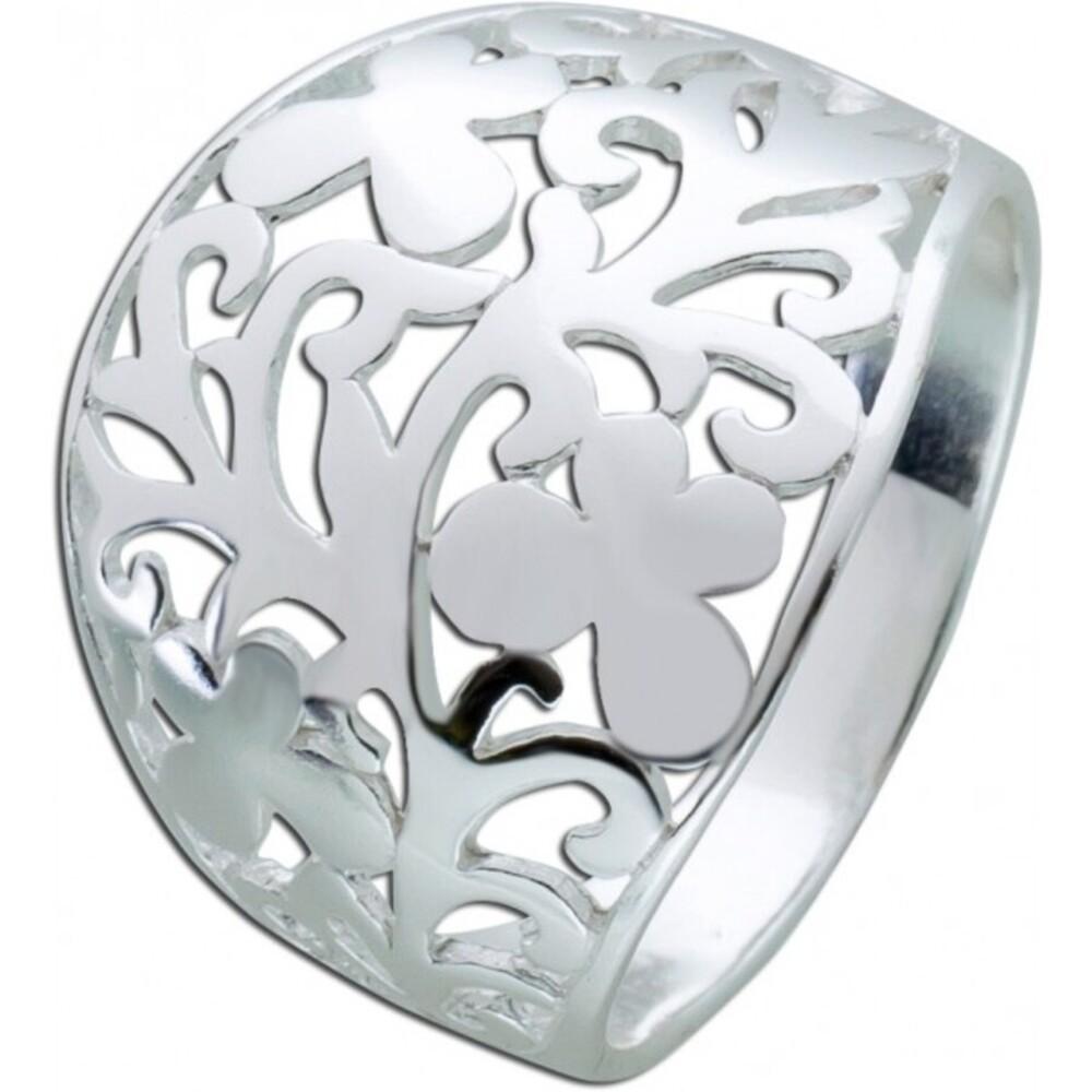 Damen Silber Ring Blumen Schmuck  Muster Sterling Silber 925 Blütenmuster Damenschmuck _1