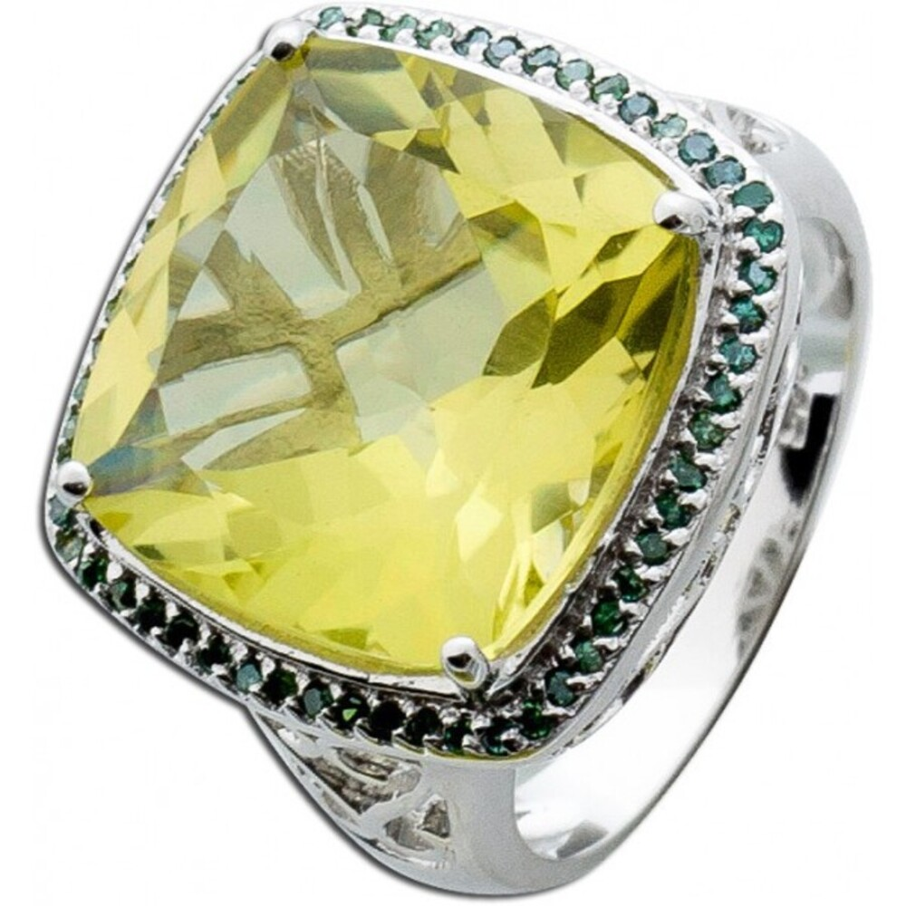 Edelsteinring Silber 925 Limonenquarz grüne Diamanten_01