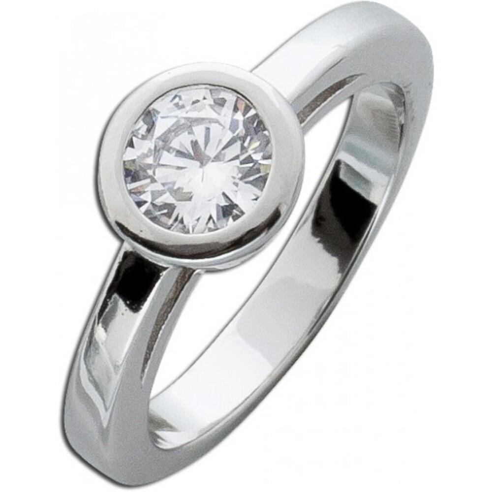 Silber Zirkoniaring weiß Sterling Silber 925 1