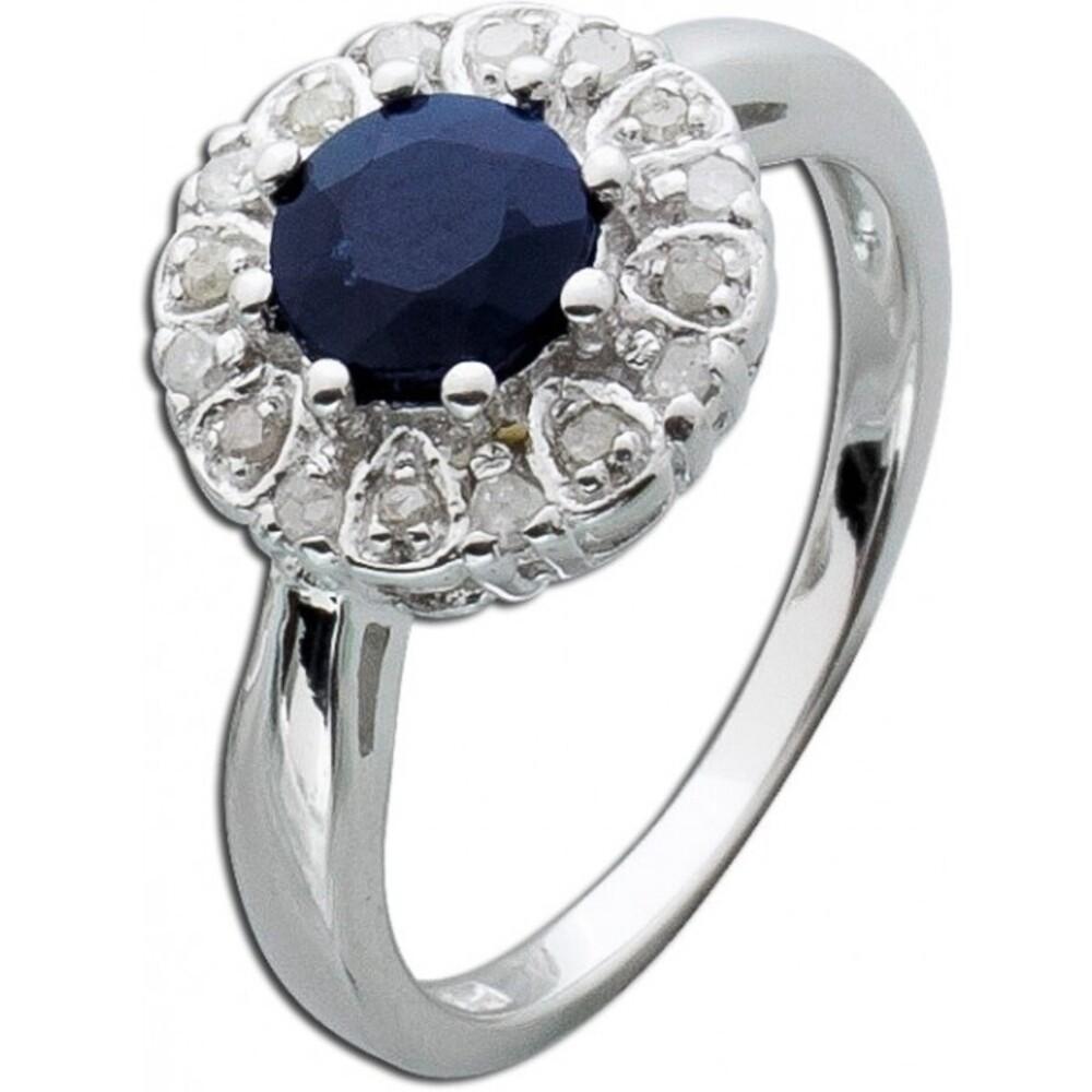 Safir Ring blau Silber 925  Diamanten Saphir Lady Di Style_01