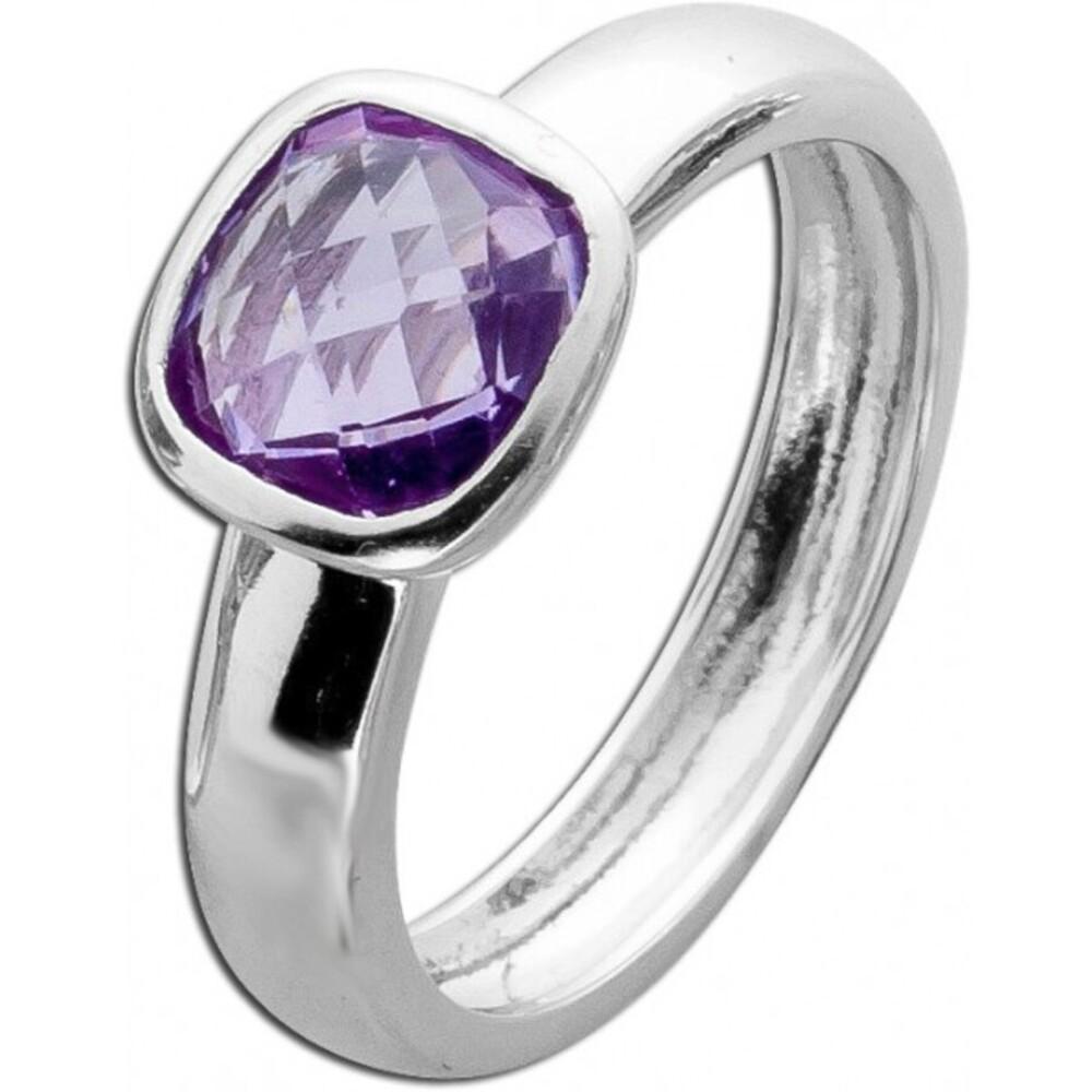 Amethystring lila violett  Sterling Silber 925 echt quadratisch rund Solitär   1