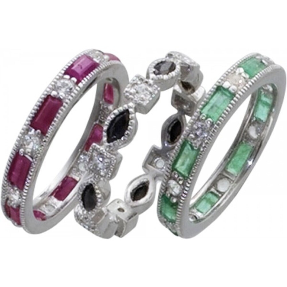 Ringset - Silberring Sterling Silber 925/- mit Edelsteinen Nachtblauer Safir roter Rubin weisser Topas grüner Smaragd