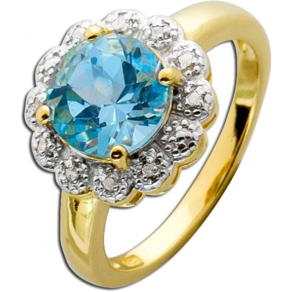 Ring Sterling Silber 925 gelbvergoldet Blautopas Diamanten