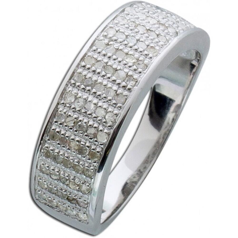 Diamant Ring weiss Sterling Silber 925 Brillantring breit 5