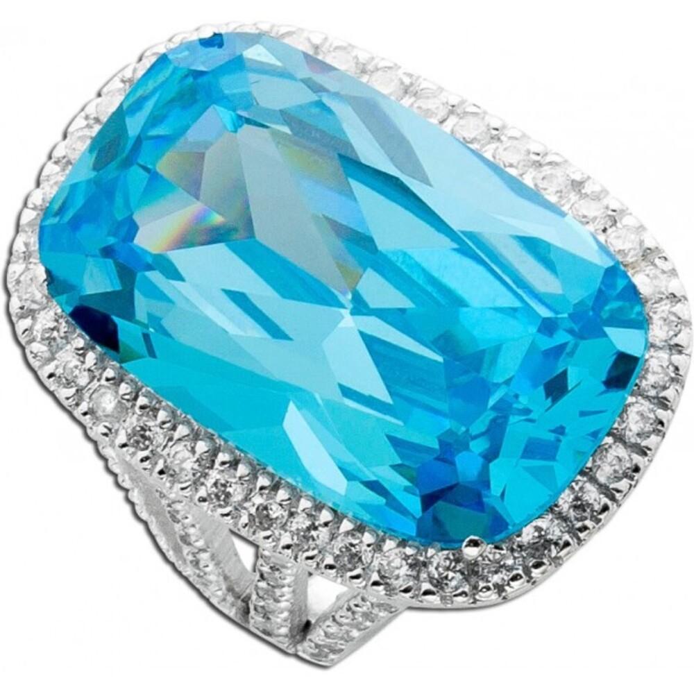 Blautopasfarbiger Zirkoniaring Silber 925 opulent_01