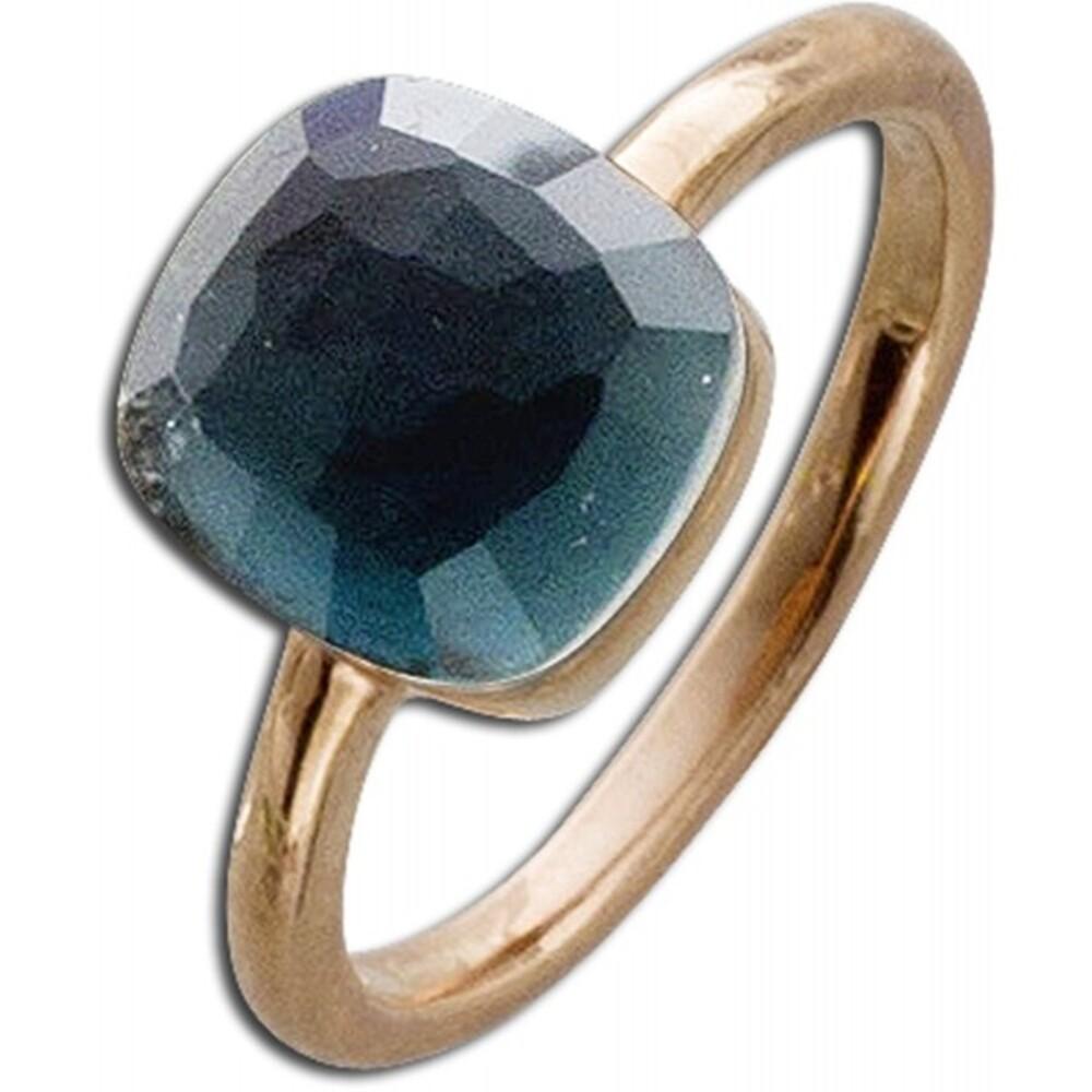 Ring Sterling Silber 925 rosé vergoldet Perlmutt blauer Zirkonia 2