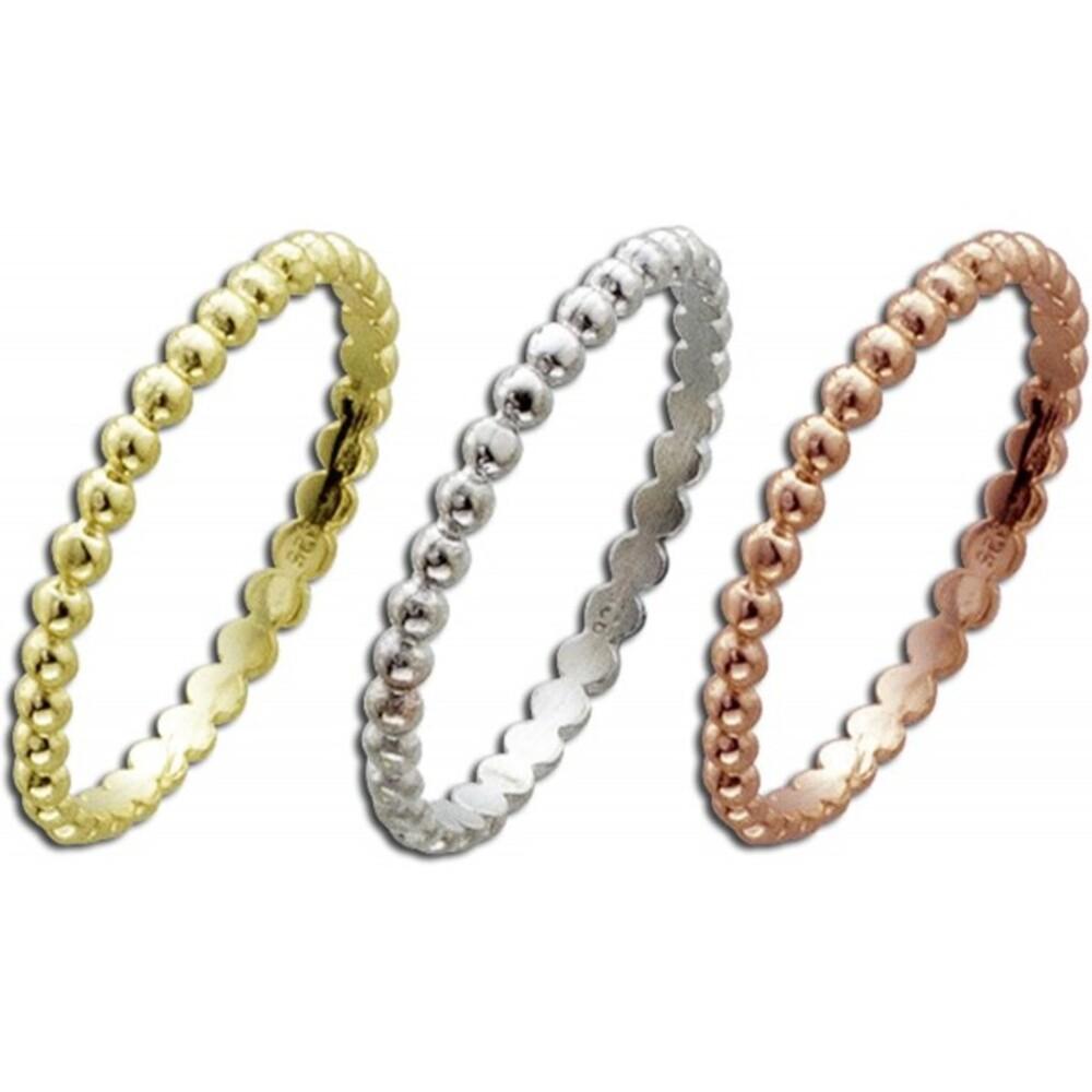 Damenring Silber Sterlingsilber tricolor rhodiniert gelbvergoldet rotvergoldet 3-teilig_1