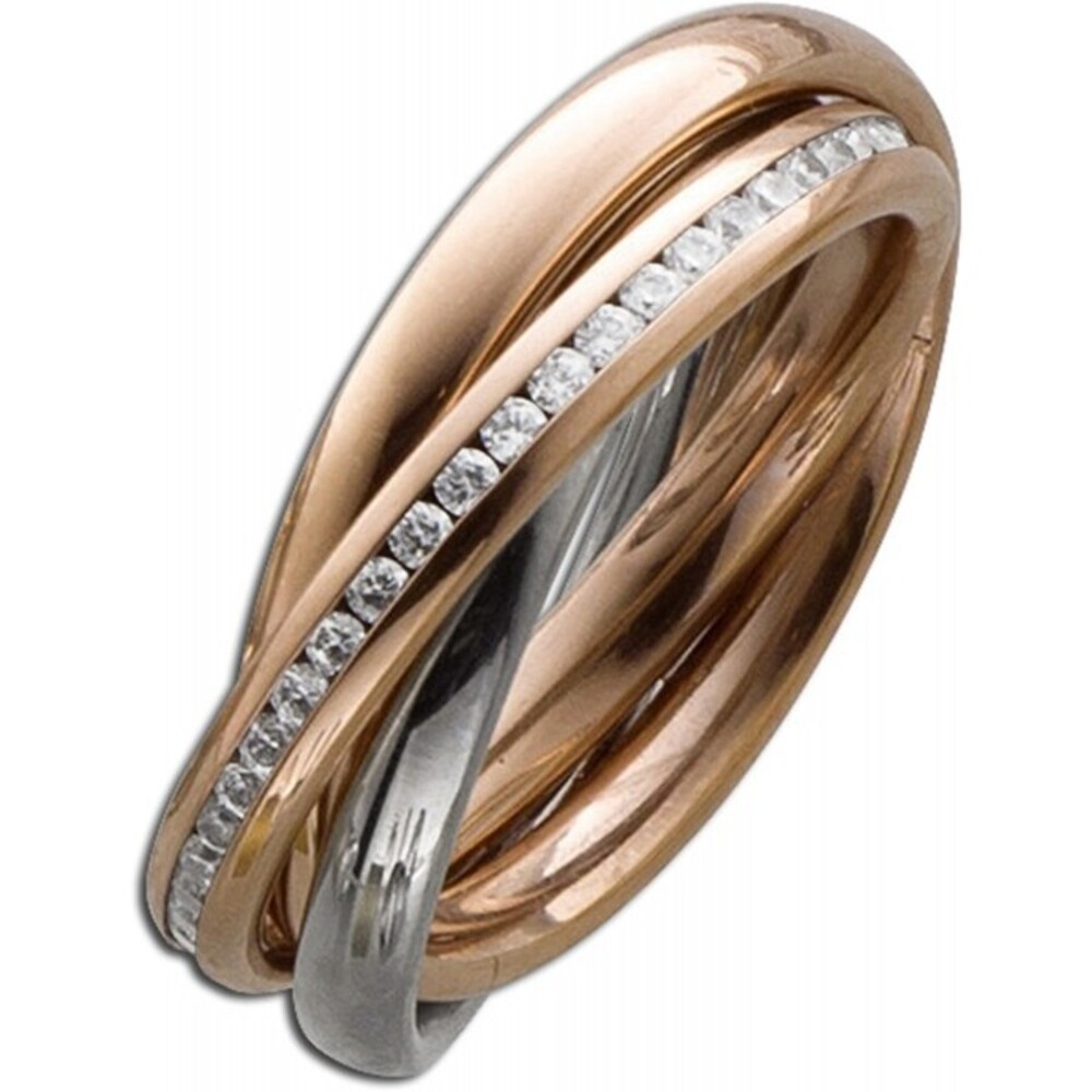 Trinity 3 Ringe ineinander Stahlring Bicolor Rose Silber farben beweglich weisse Zirkonia Toyo Yamamoto-3