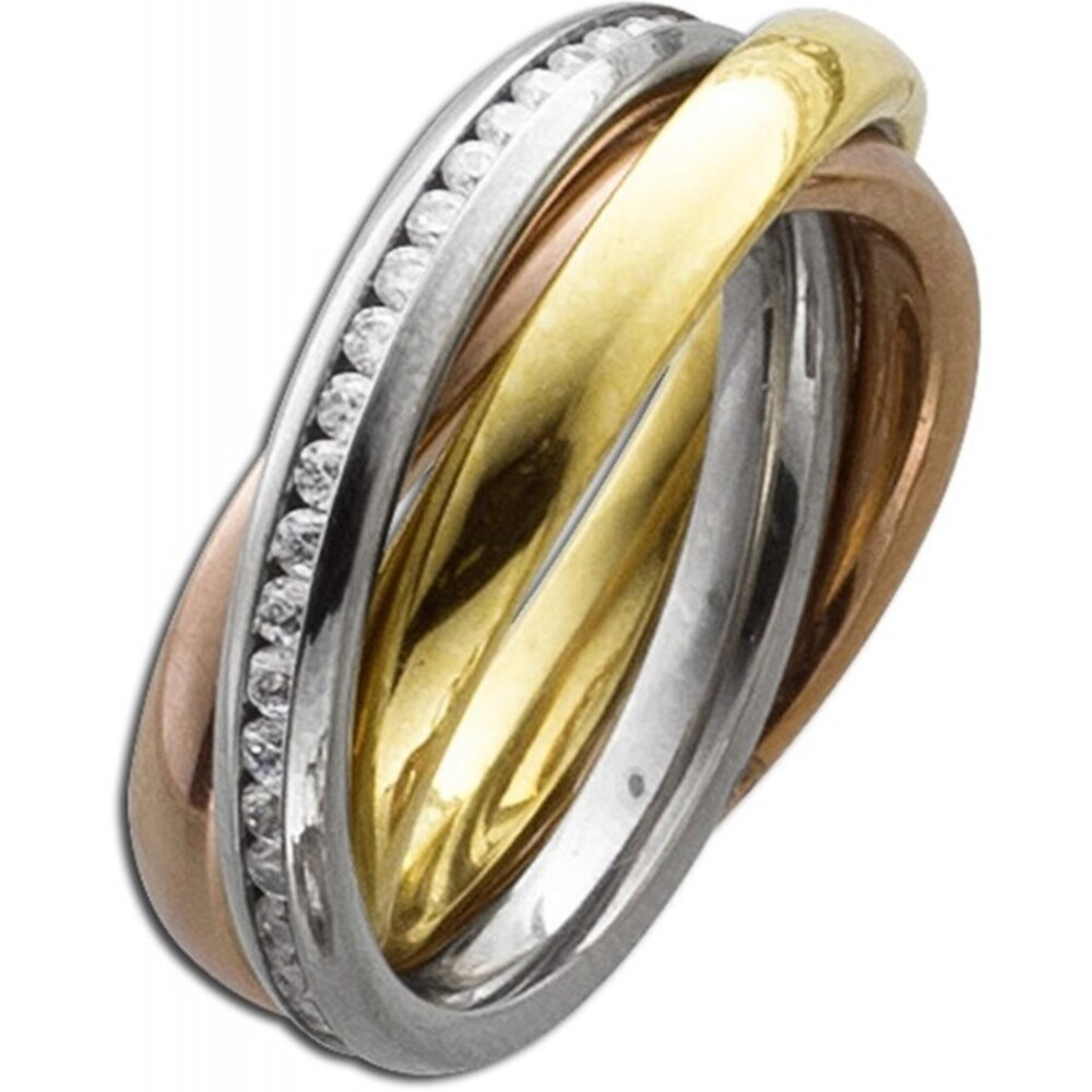 Trinity dreifacher 3 Ringe ineinander Edelstahlring Gold Rose Silber farben weisse Zirkonia Toyo Yamamoto -2
