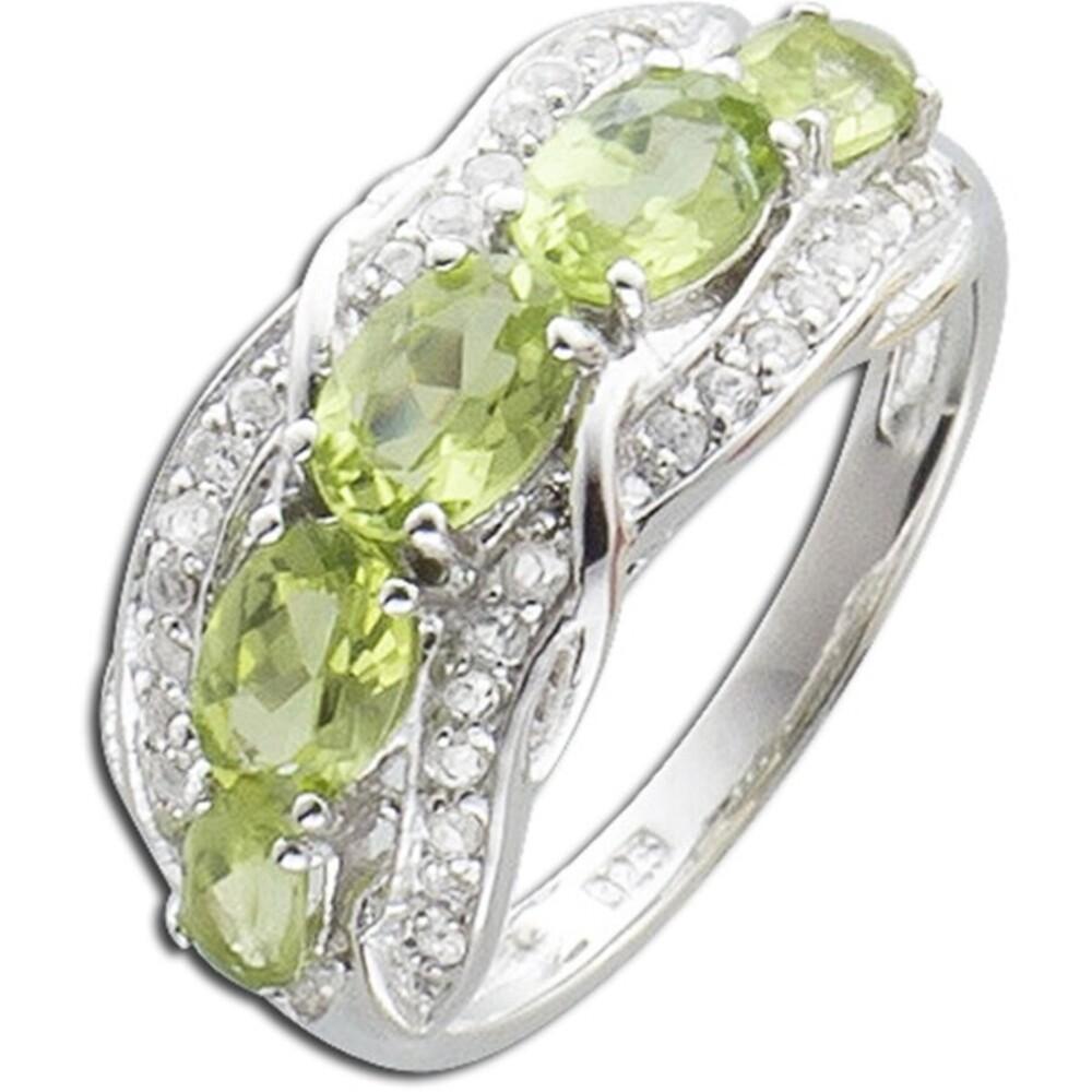 Edelsteinring  Silber 925 grüner Peridot weiße Topase_01