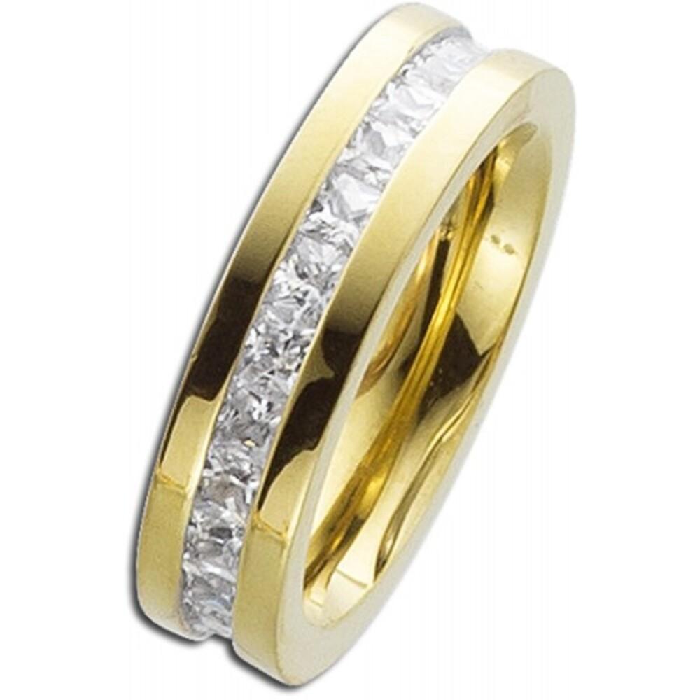 Edelstahlring - Memoirering Gold farben Zirkonia weiss Toyo Yamamoto Memoire Ring-3