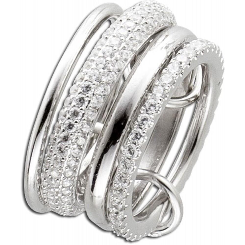 Ring Silber 925 Set Damenring Silberschmuck weiße Zirkonia_03